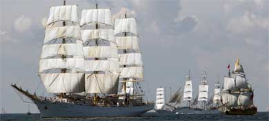 Spectacular scene as tall ships arrive in Stockholm