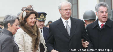 Swedish royal couple arrives in Vienna