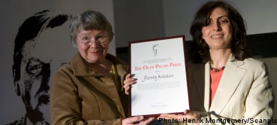 Sister of barred Iranian feminist accepts Palme prize