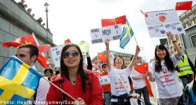 Sino-Swedes demonstrate for Beijing olympics