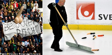Swedish hockey fans delay match with dildo downpour