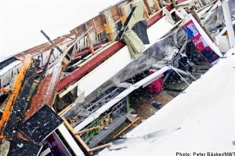 Supermarket roof caves in under weight of snow