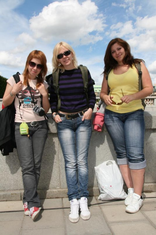 """Anna, Olga and Valentina, St Petersburg, Russia.<br>""""We're backpacking through Europe and Sweden is the last stop. We didn't know what was going on, but someone told us about the Royal Wedding. It's really cool that we came on this weekend.""""Photo: Anastasia Pirvu"""