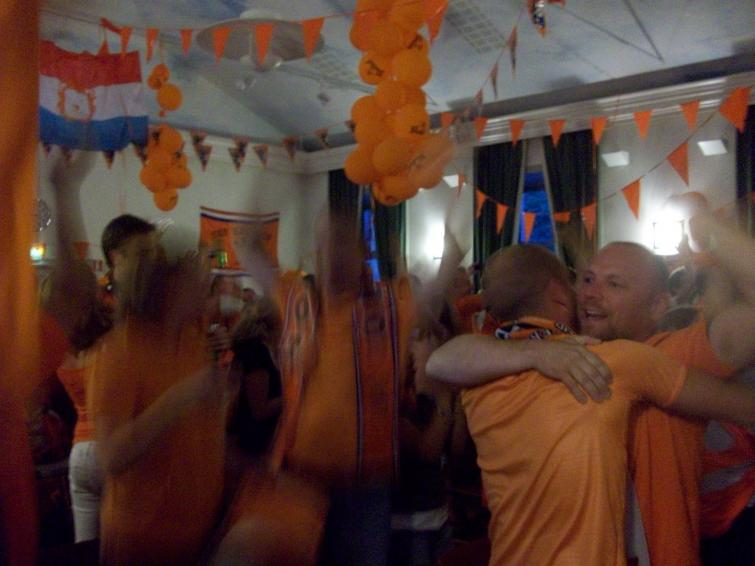 Dutch Embassy in Stockholm, Tuesday, July 6<br>Dutch fans celebrate at the Dutch embassy in Stockholm during the semifinal match against UruguayPhoto: Keith Moore