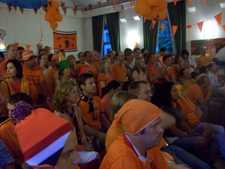 Dutch Embassy in Stockholm, Tuesday, July 6<br>Dutch fans watch anxiously during the semifinal match against UruguayPhoto: Keith Moore