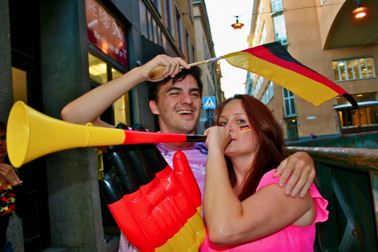 Goethe-Institut in Stockholm, Wednesday, July 7<br>The German vuvuzelas are out in full force on the streets of Stockholm during their semifinal against Spain...Photo: Emy Gelb