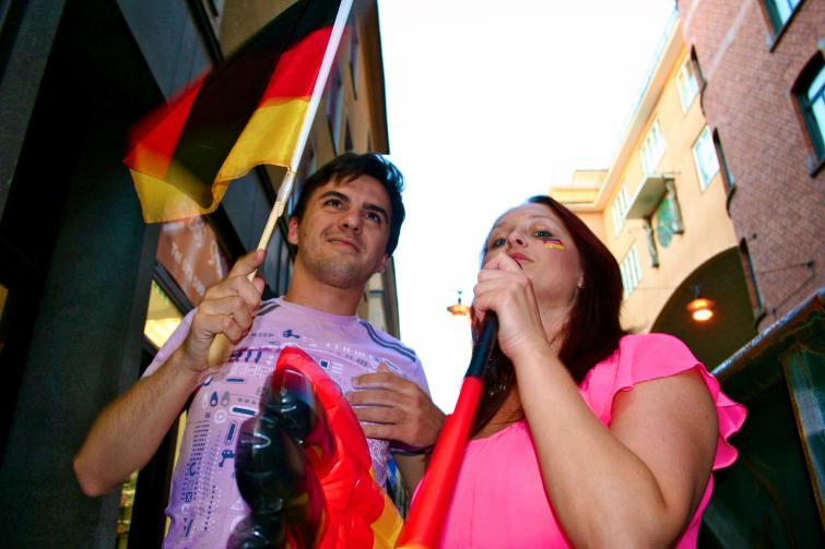 Goethe-Institut in Stockholm, Wednesday, July 7<br>...as well as the German flagPhoto: Emy Gelb