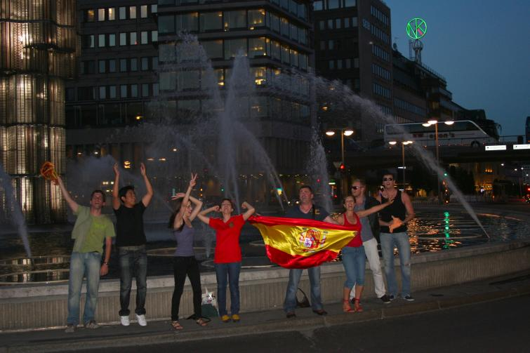 Sergels torg, Wednesday, July 7<br>Spanish fans celebrate at the Sergel torg fountain following Spain's semifinal victory over GermanyPhoto: Emy Gelb