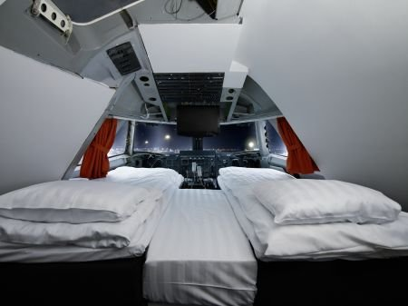 Early flight? Spend the night in the cockpit of a Boeing 747 at Arlanda Airport's Jumbo Stay.Photo: Jumbo Stay