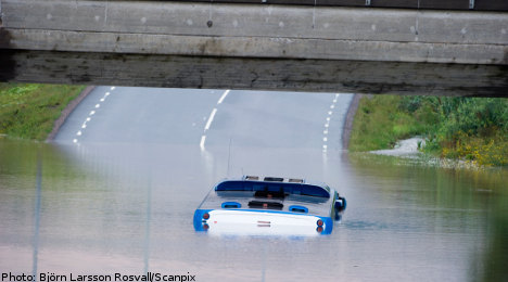 Bus in boat rescue as rains hit Sweden