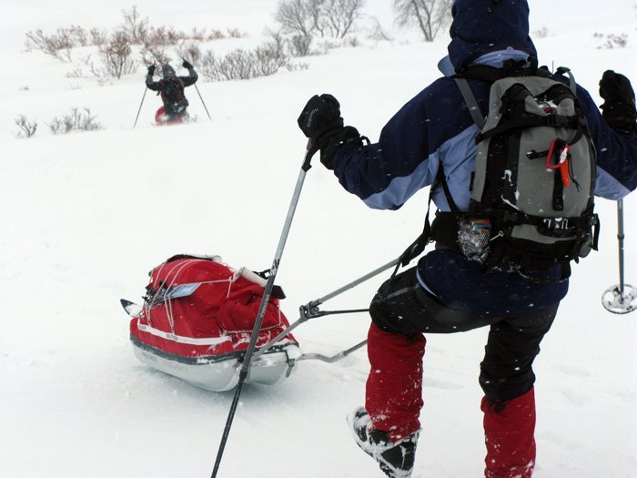Pulka Downhill Photo: Outdoor Lapland