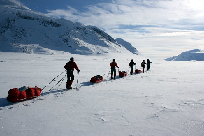 Ski Group in Ruotesvagge Photo: Outdoor Lapland