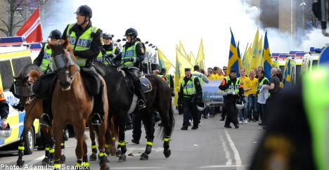 Protesters rally against Sweden Democrat march