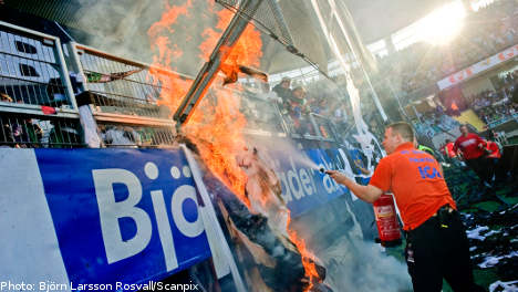 Flare causes stand fire at Swedish football match