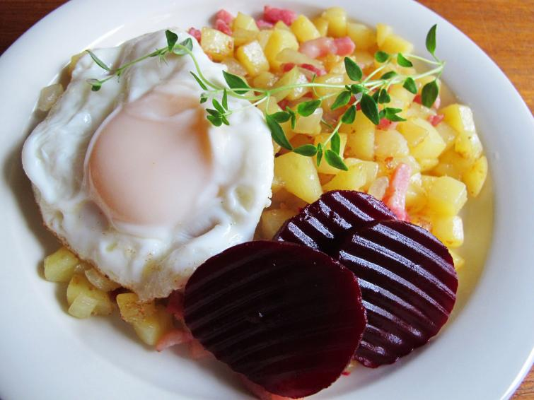 Pyttipanna<br>Commonly known as a way to clean out your refrigerator and make a meal, pyttipanna can be assembled from essentially anything as long as the key components of chopped onion and cubed leftover potatoes and meat play a starring role.Photo: Maia Brindley Nilsson