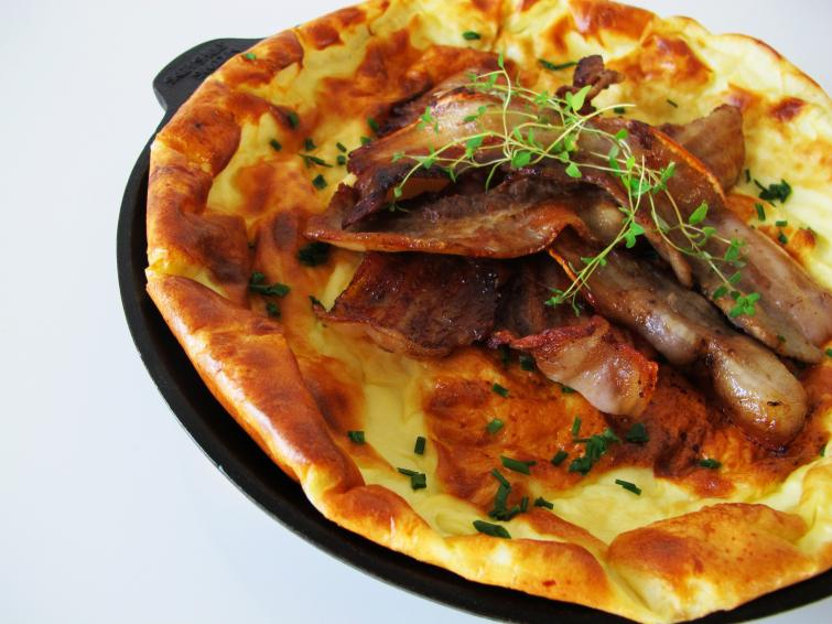 Egg cake<br>Äggakaka (egg cake) is popular in Skåne in southern Sweden where the fluffy, golden skillet meal can be prepared on the stovetop or baked in the oven.Photo: Maia Brindley Nilsson