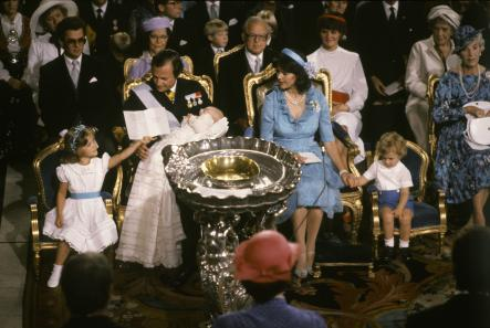 Princess Madeleine's Christening 1982<br>The Royal couple's third child, Princess Madeleine, was christened in August 1982. Crown Princess Victoria and Prince Carl Philip were present at the ceremony in the church in Stockholm.Photo: Photo: Jan Collsiöö/Scanpix