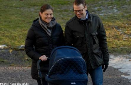The first walk.<br>Crown Princess Victoria, Prince Daniel and their baby daughter enjoying a walk in the park next to their home. Photo: Photo: Kungahuset.se