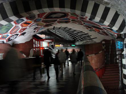 """It has the 'world's longest' art gallery<br>Most of the subway stations on the Stockholm """"tunnelbana"""" are decorated with art - paintings, sculptures, and mosaics brighten passengers' days as they travel around the city. Photo: Nenyaki/ Flickr (file)"""