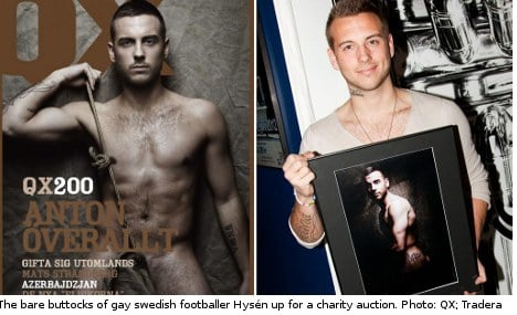 Gay Swedish footballer bares all for charity