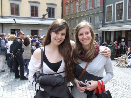 Simone, 22, and Tamara, 20 - Austria<br>You gotta drink a beer in Stampen, or one and a half. If not, buy as many kanelbullar as possible!