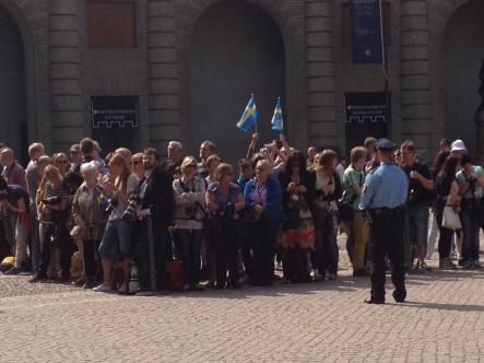 Swedish flags fly ahead of Princess Estelle's baptism