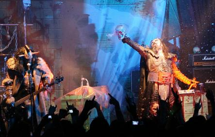 """2006 - Lordi, Finland<br>Perhaps it was the gruesome costume design, but something inspired voters to get behind Finnish rockers Lordi in 2006. The effervescent lead singer, """"Mr Lordi"""", had his home-town square in Rovaniemi renamed 'Lordi Square'. Their latest album, delightfully titled """"Babez for Breakfast"""" peaked at only number 9 in 2010. Mr Lordi was given the honour of revealing the results of the Finnish vote in this year's contest, cheekily declaring the 'Russian Grannies' as the 'cutest, Photo: alterna2/Flickr (file)"""