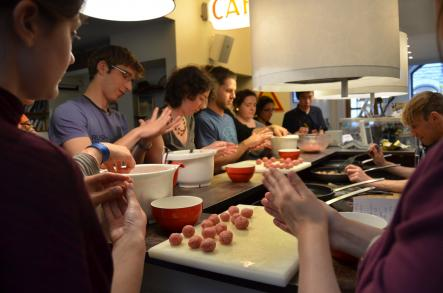 """How to cook Swedish Meatballs<br>Who is doing the best job of rolling the meatballs? It's hands on at """"The Meatball Experience"""".Photo: Susann Eberlein"""