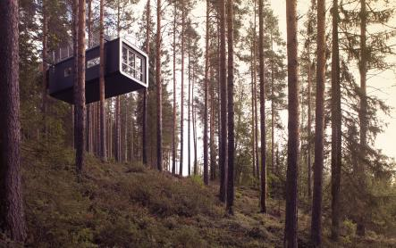 Treehotel<br>This is a hotel built and suspended between four trees. For those who feel adventurous, this wild concept provides an enjoyable time in peace and purity in the unspoiled nature.Photo: Peter Lundstrom/Treehotel.se