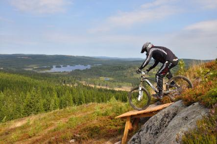 Säfsen Resort<br>The picture shows one of Säfsen's mountain bike trails. In the winter Säfsen is a ski resort with sixteen slopes and six lifts. And in the summer it's a great place to go fishing, cycling and walking. The views, nature and fresh air is the Säfsen's pride.  Photo: Säfsen/Safsen.se (file)
