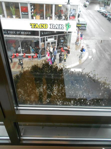 """Hours of buzzing!<br>""""It lasted for over three hours,"""" said Annette Rieger, who works in the buildingPhoto: Judith Thomas"""