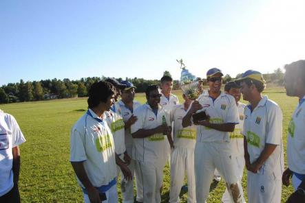 Cricket in Sweden<br>A very happy SACs team after their first big win.Photo: Photo: SCF