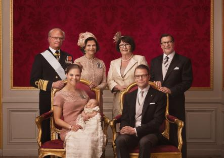 Princess Estelle with extended family<br>Princess Estelle with her partens Victoria and Daniel and their parents. Photo: Photo: Kungahuset.se