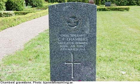 Mystery blooms over UK airman's Swedish grave
