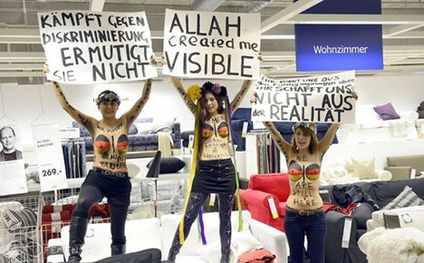 Women stage topless demo at Ikea in Germany