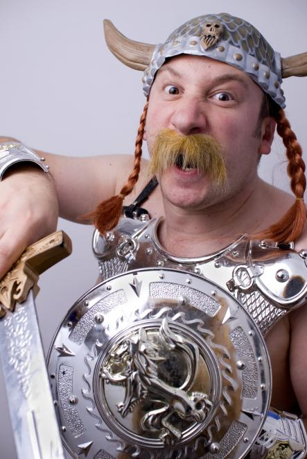 """Berserk<br>The only thing worse than an ugly Viking was a berserk Viking. Berserk, in its literal Scandinavian sense, is a """"warrior frenzied in battle."""" The word probably comes from ber-bear + serkr shirt. And what would a Viking use to carve out a nice bear shirt?Photo: the brownhorse/Flickr (file)"""