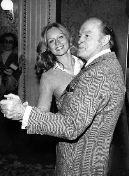 """Mary Stavin - here dancing with Bob Hope in 1983<br>Swedish Miss World and Bond girl in 1983's """"Octopussy"""" and 1985's """"A View to a Kill"""".Photo: Scanpix Sweden"""