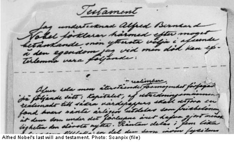 Nobel's last will and testament: a background