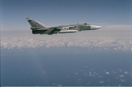 Sukhoi Su-24 <br>The Sukhoi Su-24 is a supersonic, all-weather attack aircraft developed in the Soviet Union. It remains in service with former Soviet air forces and other countries' to which it was exported. Photo: Swedish Armed Forces