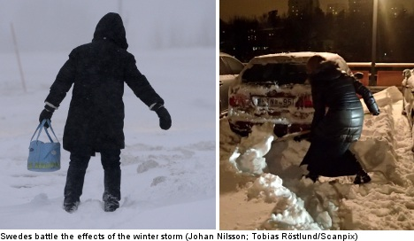 Delays persist as snow-bound Swedes dig out