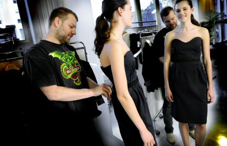 Jonny Johansson at Acne<br>Jonny Johansson fits a 2008 dress on a model. Originally, he sewed up simple jeans with red thread (unexpectedly revolutionary) and handed them out to friends and family. A few words and a few mouths later, he was swept away by demand and went corporate. Photo: Malin Hoelstad/Scanpix