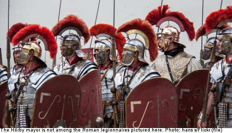 Mural depicting mayor as Roman soldier unveiled