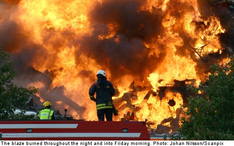 Malmö recycling centre up in flames