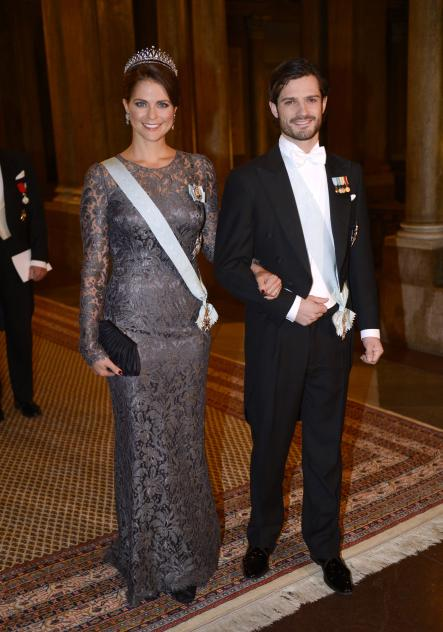 Princess Madeleine is escorted by her brother Prince Carl Philip to a Nobel laureates dinner in 2012.Photo: Jessica Gow/Scanpix
