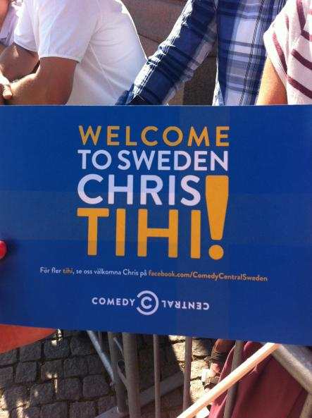 """Flags around Stockholm referring to the famous """"Tihi"""" speech by the princess"""