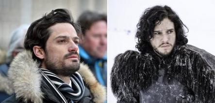 """The Tale of Two Princes <br>Take a look at Sweden's Prince Carl Philip (left) and Jon Snow. Fur coat, rugged yet somewhat well-maintained beard, and a look that suggests each has seen one too many bitter winters. It's obvious - Jon Snow is based on the Swedish prince. Having said that, perhaps the prince is dressing up during winter to look more like Lord Eddard """"Ned"""" Stark's bastard son. Impossible to know, easy to appreciate.Photo: Scanpix/C More"""