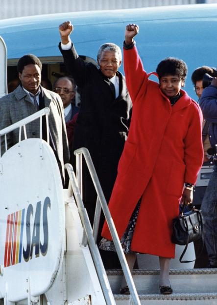 Freedom<br>Nelson Mandela and his Graca Machel do the black power salute at their 1990 arrival in Stockholm soon after Mandela's release from prison. Sweden remained a faithful ally of the struggle against apartheid for many years.Photo: Jack Mikrut/Scanpix