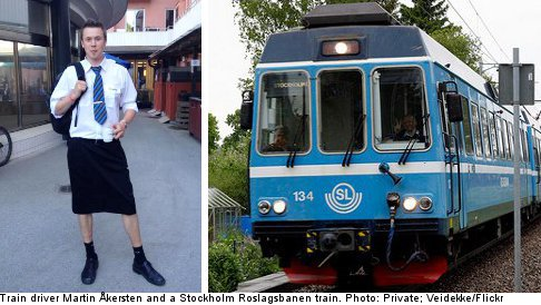 Male train drivers don skirts after shorts ban