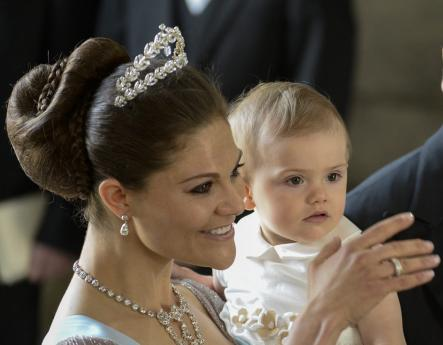 Princess Estelle with Crown Princess Victoria during the ceremony for Princess Madeleine's wedding in June.Photo: Leif R Jansson/Scanpix