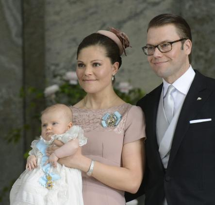 Crown Princess Victoria and Prince Daniel, after Princess Estelle's baptism in the Royal Chapel at the Royal Palace.Photo: Leif R Jansson/Scanpix